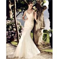 beautiful Deep V Neck Mesh mermaid Wedding Dresses Women Lace Wedding Gowns Manufactures