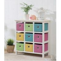 Wood Chest Drawer Cabinet with Colorful Baskets Manufactures