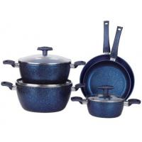 8PCS heat resistant nonstick blue marble inside and outside coating Aluminum cookware set with saucepot Manufactures
