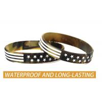 USA Rubber Wristbands Silicone Bracelet with American Flag in Black and Army Green for American Patriots Manufactures
