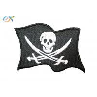 Twill Fabric White Skull Custom Motorcycle Patches With For Clothing Shape Customized Manufactures
