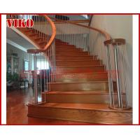 Wrought Iron Staircase VK87S  Wrought Iron Handrail Tread Beech ,Railing tempered glass, Handrail b eech Stringer,carbon Manufactures