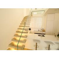 Quality Modern Glass Floating Steps Staircase Solid Wood Treads Villa Design For Residential for sale