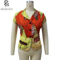 Multi Color Short Sleeve African Print Tops Designs , African Style Women Shirts Manufactures