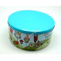 Blue Color Printed Big Metal Tin Box For Donuts And Cake Storage Manufactures