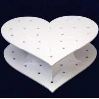 Heart Shape Double Acrylic Wedding Cake Stand / White Display Stands Manufactures
