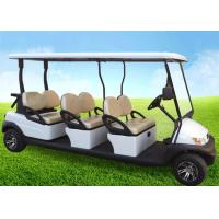 White Four Wheels 6 Person Golf Cart , Road Legal Golf Buggy With Long Roof Manufactures