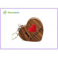 Love Heart Wooden USB Flash Drive 4GB 8GB 16GB 32GB 64GB Maple / Walnut Material Manufactures