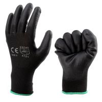 Quality Industrial Black PU Coated Gloves Nylon Builders Grip Palm Coating Hand Gloves for sale