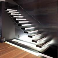 Floating wood stairs with invisible stringer straight staircase Manufactures