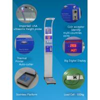 China Coin operated medical height and weight scales with bmi analysis  and thermal printer  500kg on sale