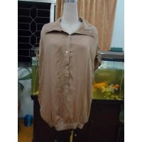 100% Viscose Womens Fashion Tops Bow Back Waist Button Up Shirts  Tops Elastic Cuff Manufactures