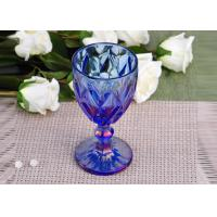 China Antique colored glass candle holders Iridescent Blue Stemware Embossed on sale