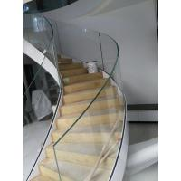 Side-mounted solid wood handrail glass railing prefabricated curved stairs Manufactures