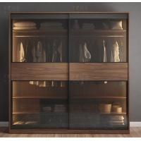 Glass Moving Door Wooden Wardrobe Closet With Lighting Simple Modern Style Manufactures