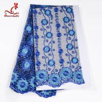 African Cord Blue Embroidered Floral Lace Fabric 127 CM Polyester Manufactures