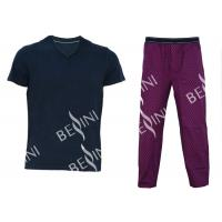 Comfortable Mens Luxury Sleepwear Jersey Shirt Short Sleeve And Woven Printed Long Pants Australian Design Manufactures