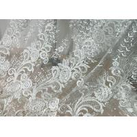 Embroidered Floral Sequin Tulle Lace Fabric For Bridal Couture Polyester Nylon Material Manufactures