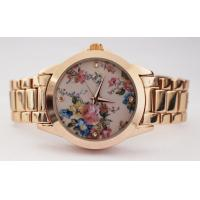 China Flower Printing Dial Quartz Womens Watches Classic Wrist Watch Leisure Watch Set on sale