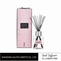 silver cap square bottle reed diffuser with ribbon pink folding box