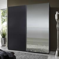Elegant High Gloss Bedroom Furniture With Half Mirror Soft Sliding Door Wardrobe Manufactures