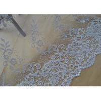Floral Embroidery Corded Lace Fabric , Bridal Sequin Mesh Fabric With Scalloped Edge Manufactures