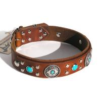 Embroidered Paw Leather Dog Collar GCDC-062PRCB Manufactures
