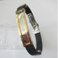 Costume Jewelry Friendship Rubber Bracelets with Gold Stainless Steel Manufactures