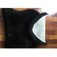 Quality Dyed Black Sheepskin Floor Rug , Long Hair Wool Genuine Sheepskin Seat Covers  for sale