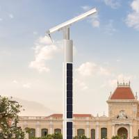 China Robotic self cleaning high power LED Pole solar power aluminum lithium battery street light Manufactures