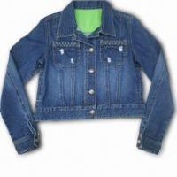 Fashionable Casual Denim Jacket with Metal Snap Closure, Made of 100% Cotton Manufactures