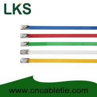 4.6*150mm 201,304,316 grade epoxy polyester coated Ball-lock stainless steel cable ties Manufactures