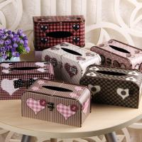 China Vintage Chic Heart Pattern Facial Tissue Box Cover Napkin Holder for Bathroom Countertops with Buckle Lock on sale