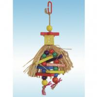 natural pine wooden bird toys 10 inches paladin with raffia grass cape for conure Manufactures