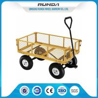 Four Wheels Garden Mesh Cart SGS , Metal Garden Cart Wagon 1000lbs Load Capacity Manufactures