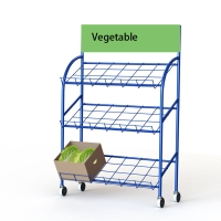 Supermarket 3 Tier Metal Fruit And Vegetable Display Stand With Wire Shelves And Top Sign Manufactures