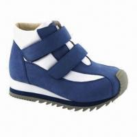 China Children's Sports Shoes with Cow Leather Upper, EVA + Rubber Outsole, Measures 21 to 35 on sale