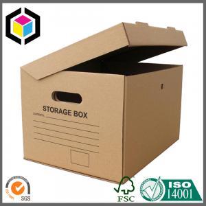Cutout Handle Corrugated Storage Box; Black Color Archive Carton Packaging Box Manufactures