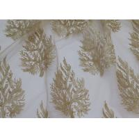 Embroidered Tree Gold Sequin Lace Fabric By The Yard For Wedding Bridal Evening Dress Manufactures