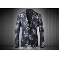 Two Buttons Mens Floral Printed Suit Jackets Polyester Sublimation Back Vent Manufactures
