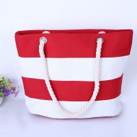 China Printed Stripe Cotton Canvas Bags With Two Soft Cotton Rope Handles on sale