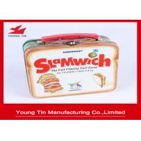 Plastic Handled Candy Gift Tins , Tinplate Food Packaging Lunch Metal Tin Box Manufactures