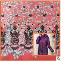 China Middle-aged cotton jacket,Printed cotton fabric coat mother dress fabric peonies on sale