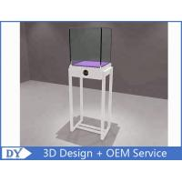 Simple White Wood Metal Square Custom Glass Display Cases / Store Display Showcase Manufactures