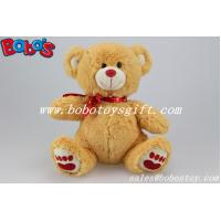 Factory Made Brown Lovely Stuffed Valenines Day Teddy Bear With Red Heart Printing Ribbon Manufactures