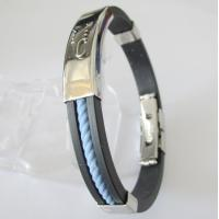 China Mens Jewelry Stainless Steel Rubber Bracelet on sale