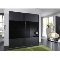 Black Glass Sliding Wardrobe Lacquer High Gloss Painting Wooden Bedroom Furniture 2.3 Meters Height Manufactures