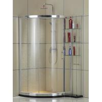 Clear Tempered Glass D Shaped Shower Stall Bright Silver Aluminum Alloy With Shelf Outside Manufactures