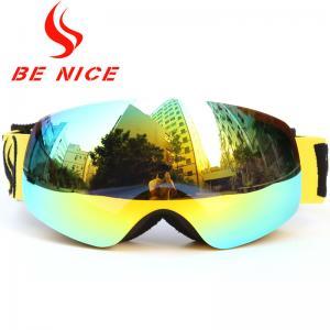 Anti Impact Gold Kids Snowboard Goggles , Fashion High Visibility Ski Goggles Manufactures