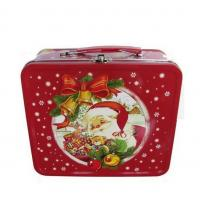 LOGO Printing Rectangle Metal Tin Lunch Box With Christmas Artwork Manufactures